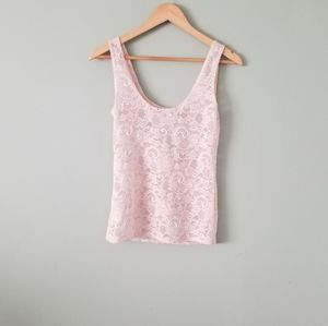 Talula sheer Lace Tank top in small blush pink